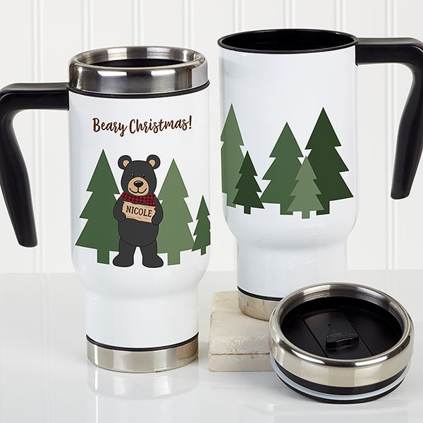 Personalized Travel Mug - Holiday Bear Family - 21264