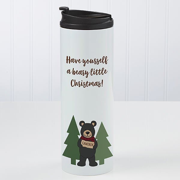 Personalized Travel Tumbler - Holiday Bear Family - 21265