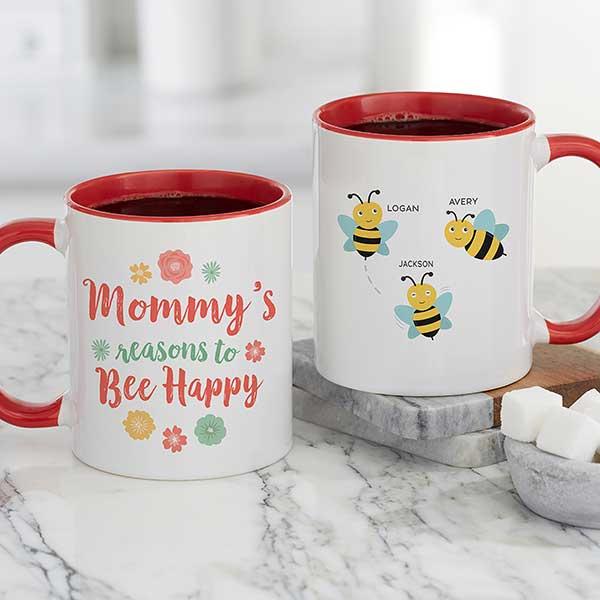 Bee Happy Personalized Bee Coffee Mugs - 21284
