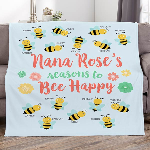 Bee Happy Personalized Blankets - 21302