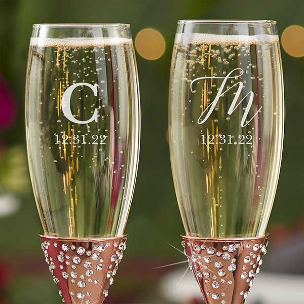 CHAMPAGNE GLASSES and Name Embroidered on Towels Hooded Towel Bath Robes