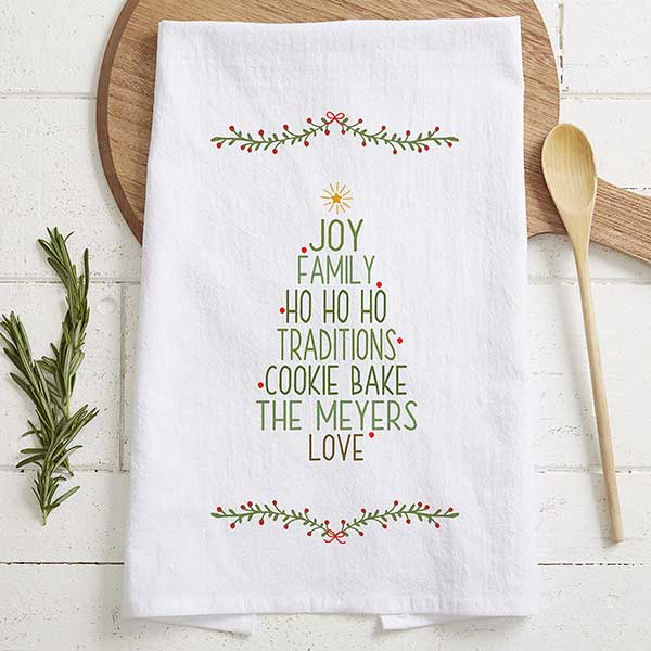 Christmas Family Tree Personalized Tea Towel - 21368