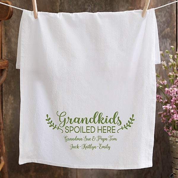 Personalized Tea Towel - Grandkids Spoiled Here - 21369