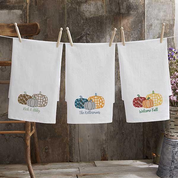 Personalized Flour Sack Towels - Plaid Pumpkins - 21373