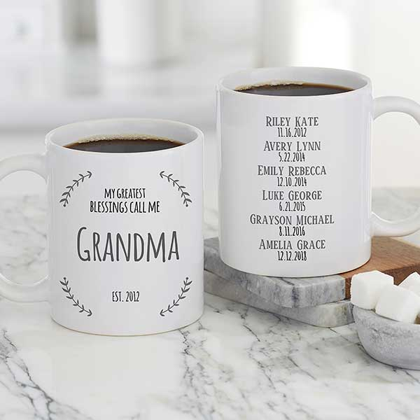 My Greatest Blessings Call Me Personalized White Coffee Mug For Her