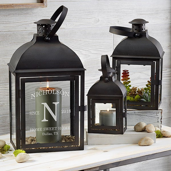 Family Initial Personalized Candle Lantern 3 Piece Set - 21397