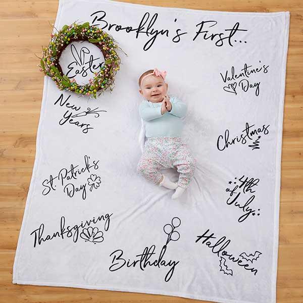 ADD ON to Anniversary Blanket for Baby/'s Milestones   personalized blanket  custom baby blanket