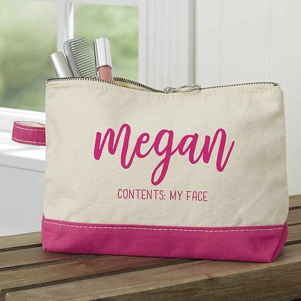 Scripty Name Pink Makeup Bag