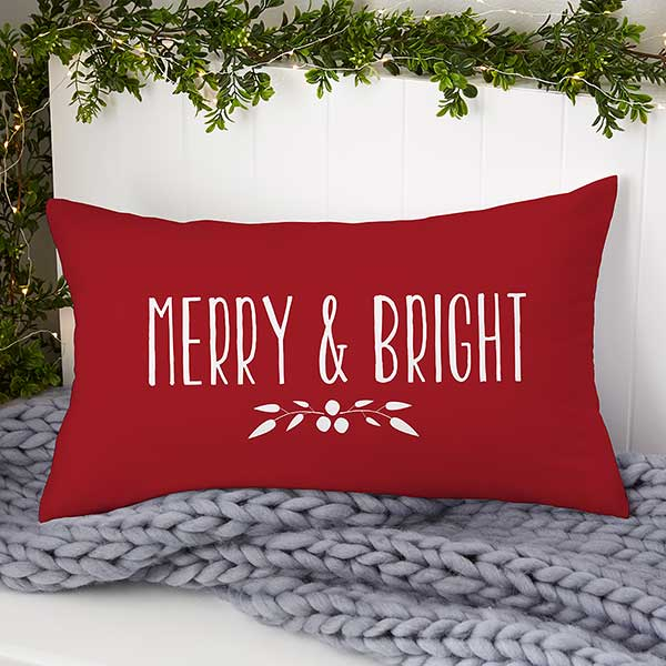 Holiday Wreath Personalized Christmas Lumbar Pillow Christmas Clearance