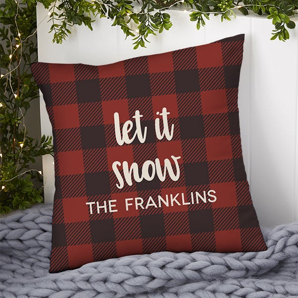 Personalized Buffalo Check Throw Pillows - Cozy Cabin - 21440
