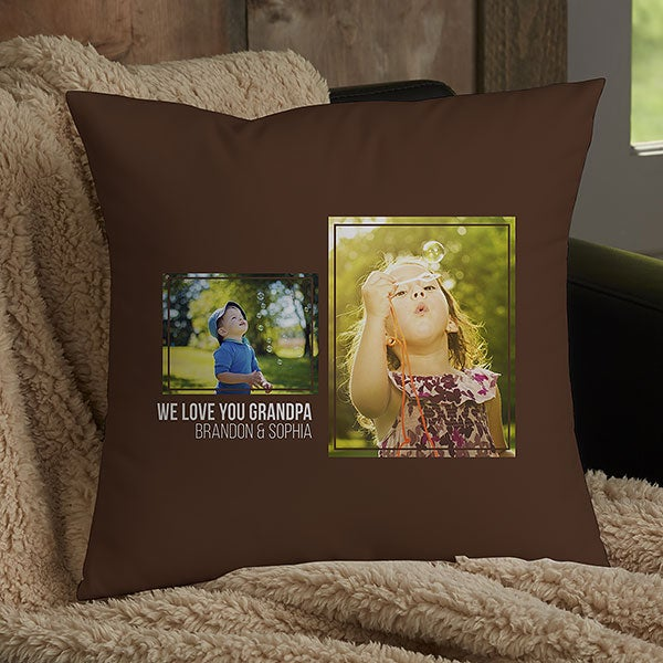 Personalized 2 Photo Collage Throw Pillows For Dad - 21459