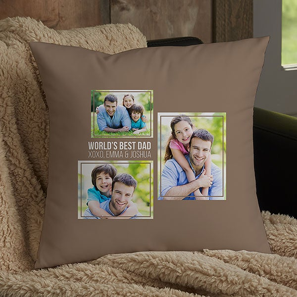 Personalized 3 Photo Collage Throw Pillows For Dad - 21460