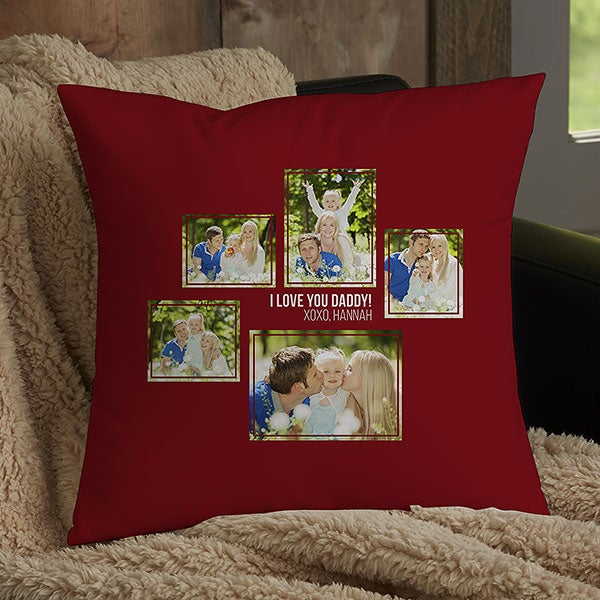 Personalized 5 Photo Collage Throw Pillows For Dad - 21462