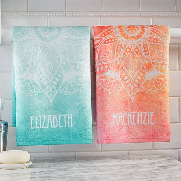 Personalized Hand Towels - Mandala - 21481