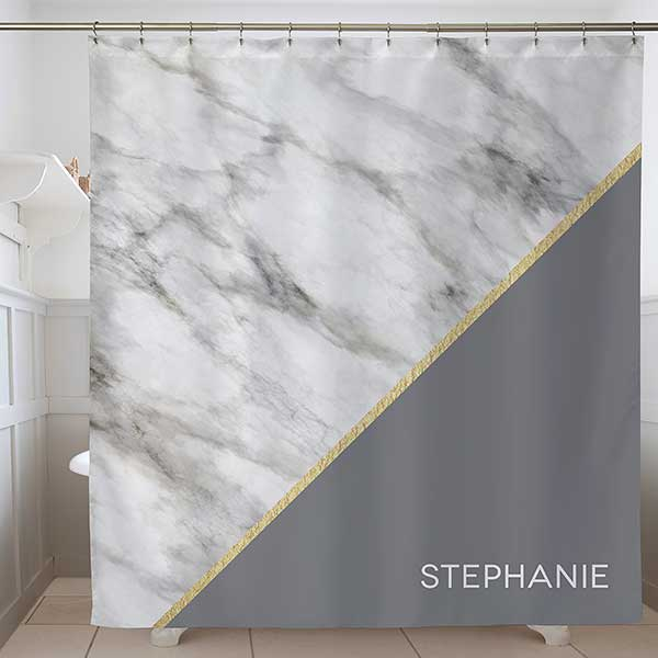 Personalized Marble Shower Curtain
