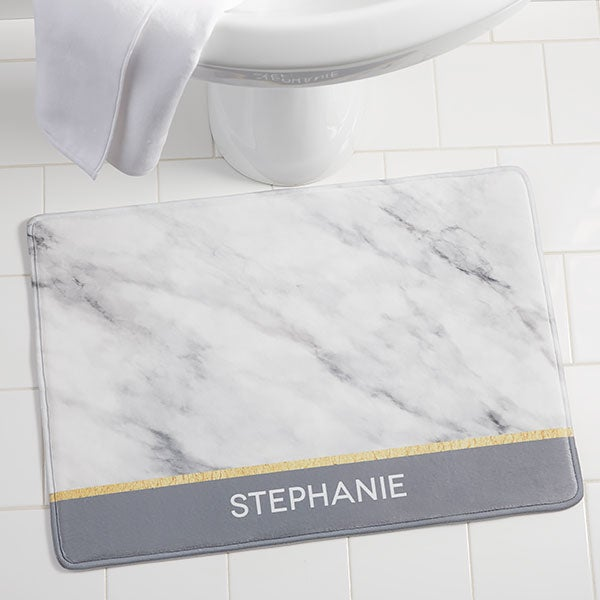 Personalized Foam Bath Mat - Marble Chic - 21489