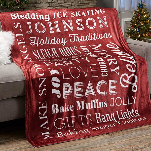 Holiday Traditions Personalized Blankets - 21495
