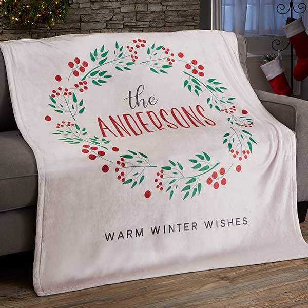 Christmas Wreath Personalized Blankets - 21531