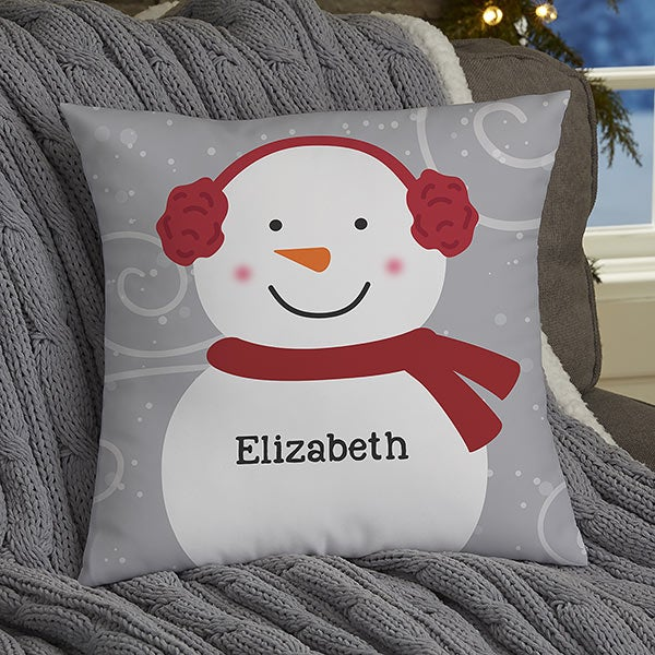 Snowman Family Personalized Throw Pillows - 21535