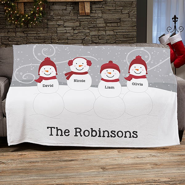 Snowman Family Personalized Blankets - 21537