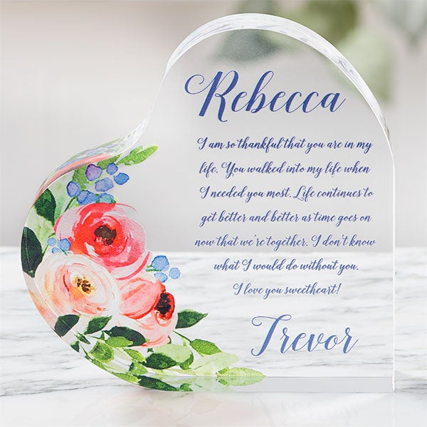 Personalized Romantic Acrylic Keepsake -  Add Any Text - 21556
