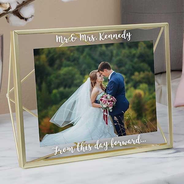 Engraved Wedding Photo Frame - Gold Prisma Glass - 21620