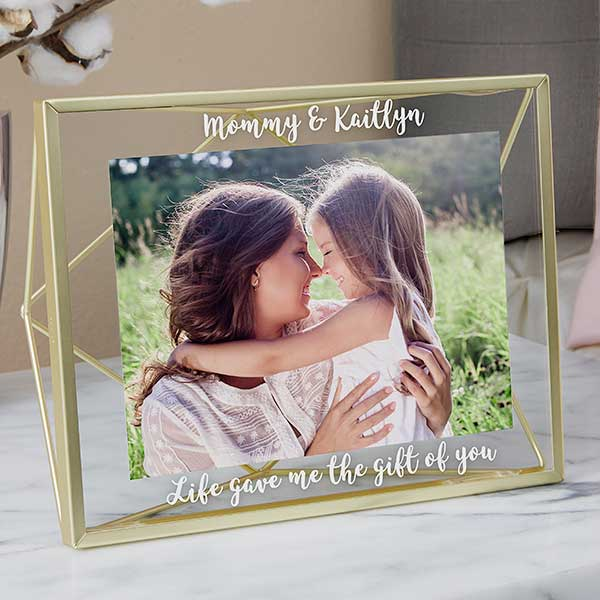 Engraved Photo Frame - Gold Prisma Glass - 21623