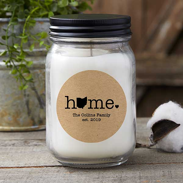 Home State Personalized Farmhouse Candle Jar - 21628