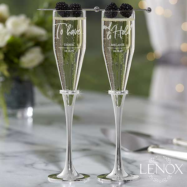 Wedding Goblets | Lenox Champagne Flutes Personalized Wedding Flutes