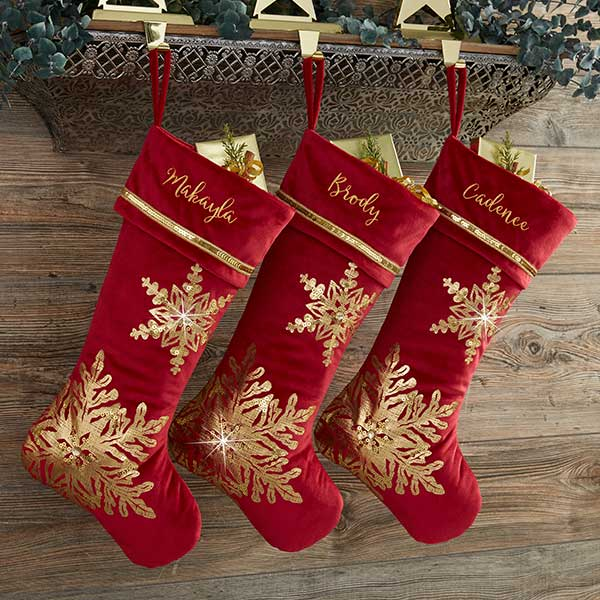 Glistening Snowflake Personalized Burgundy Christmas Stocking