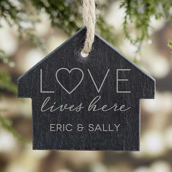 Love Lives Here Engraved Slate Ornament - 21665