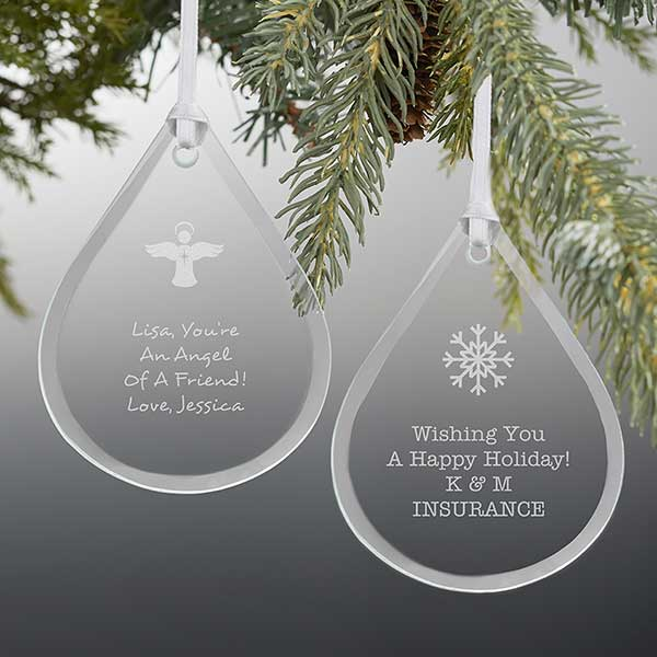 Create Your Own Personalized Teardrop Glass Ornament - 21670