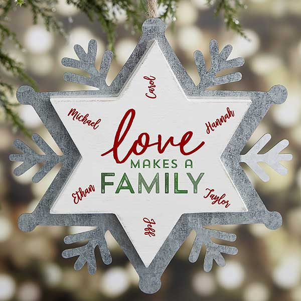Love Makes A Family Personalized Galvanized Ornament - 21672