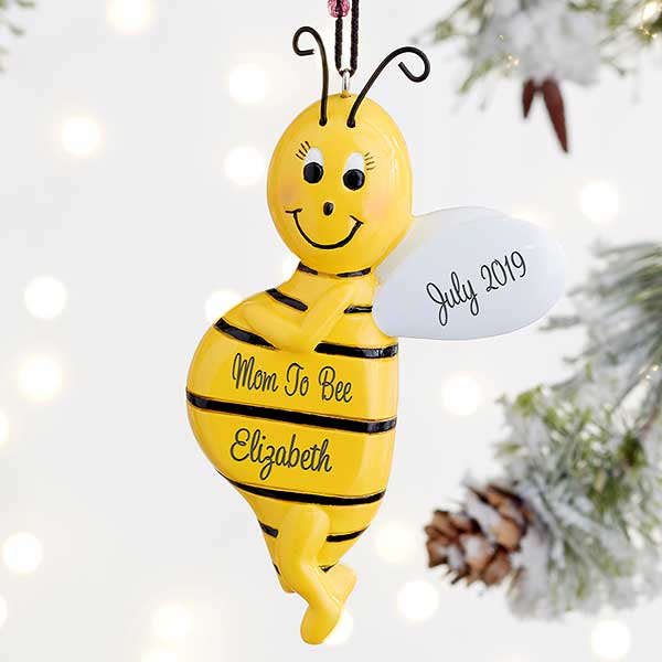 Mom To Bee Personalized Expecting Ornament  - 21677