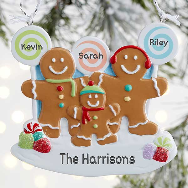 Personalized Gingerbread Family Christmas Ornaments - 21686