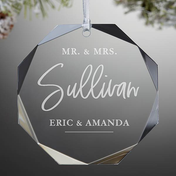 Custom Engraved Premium Glass Wedding Ornament - 21689