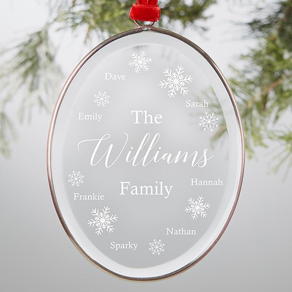 Engraved Glass Personalized Family Ornament - 21691