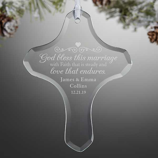 Engraved Glass Wedding Ornament - Marriage Blessing - 21694