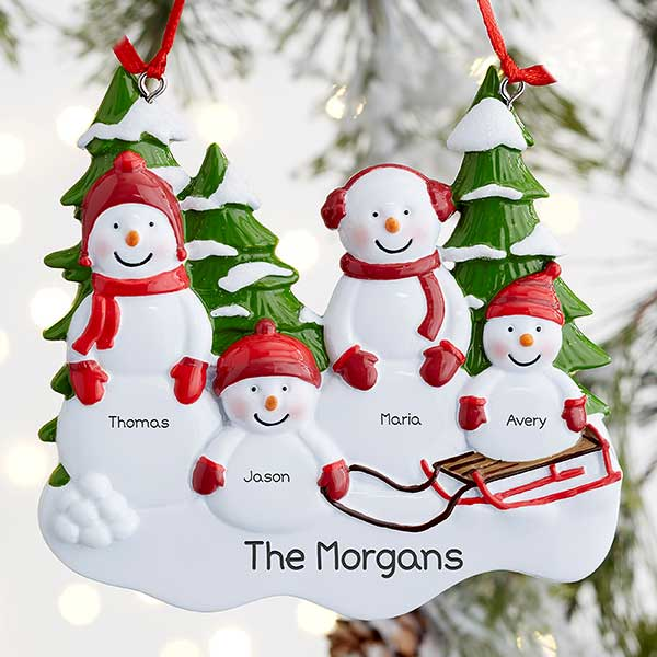 Personalized Snowman Family Ornaments - 21701
