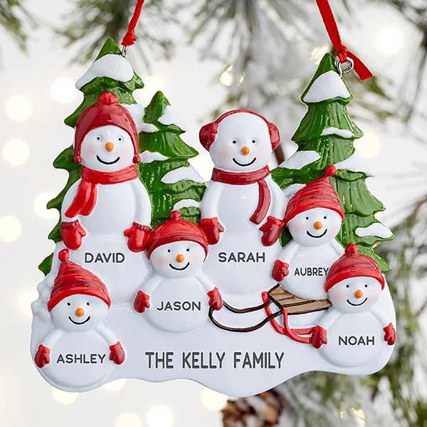 SNOWMAN FAMILY OF 5 MOM DAD GIRL BOY CHILD PERSONALIZED CHRISTMAS TREE ORNAMENT