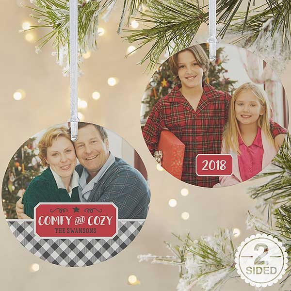 Farmhouse Christmas Buffalo Plaid Photo Ornaments - 21703