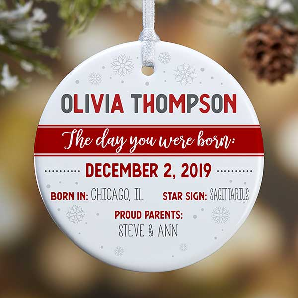 Personalized Baby Ornament - The Day You Were Born - 21704