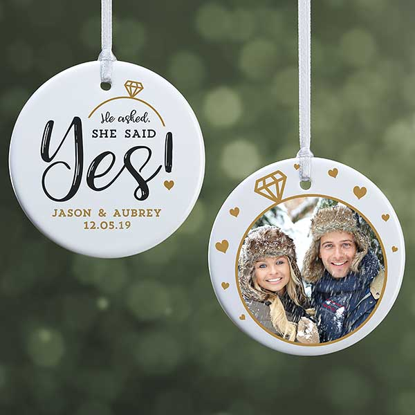 Engagement Photo Ornament He Asked She Said Yes