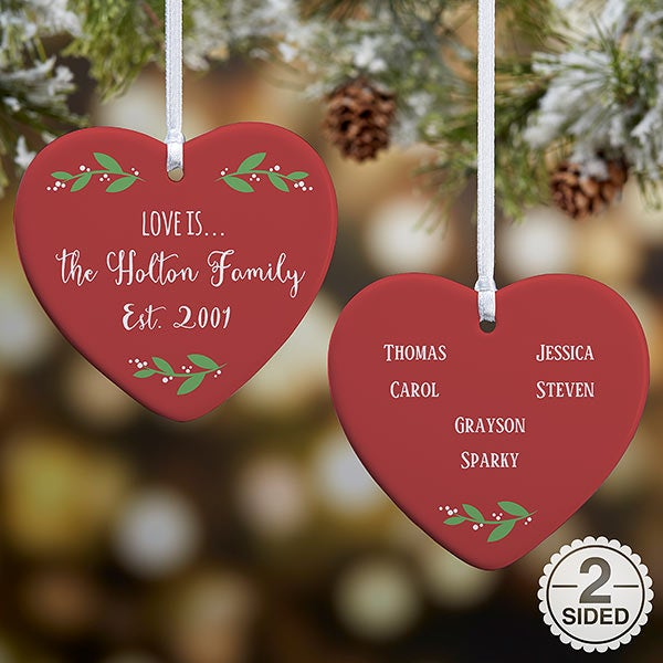 Love Is... Personalized Heart Ornaments - 21719