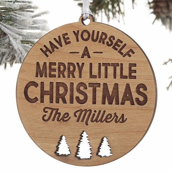 Personalized Wood Ornament - Merry Little Christmas - 21724