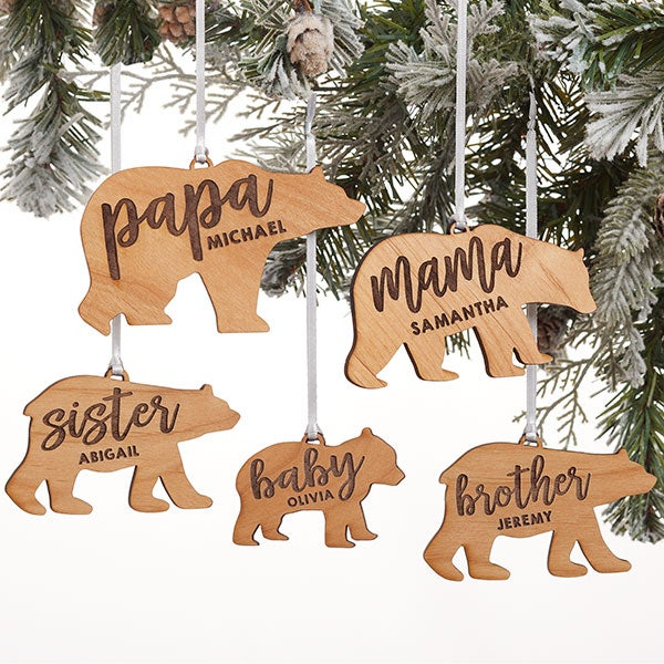 Bear Family Personalized Wood Ornaments - 21725