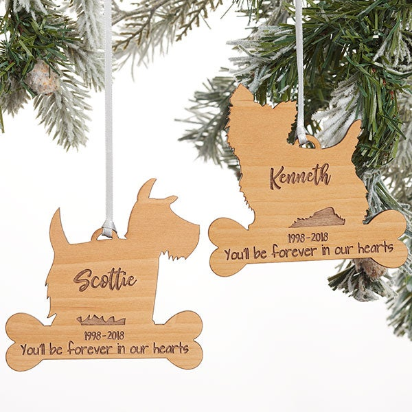 Dog Breed Memorial Personalized Wood Ornament - 21728