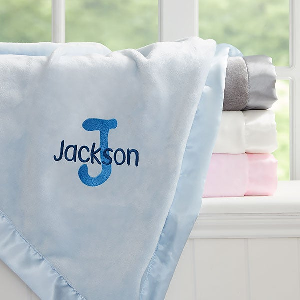 Embroidered Satin Trim Baby Blanket - Name & Initial - 21732