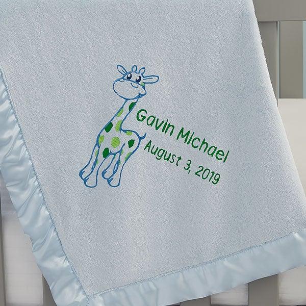 Embroidered Giraffe Baby Blankets - 21736