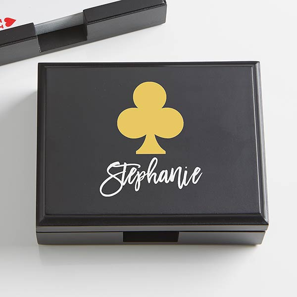Contemporary Style Personalized Wood Playing Card Box - 21759